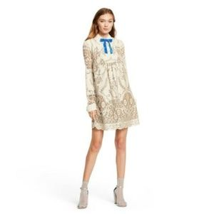 Anna Sui Target Ivory Lace LS Shift Mini Dress L